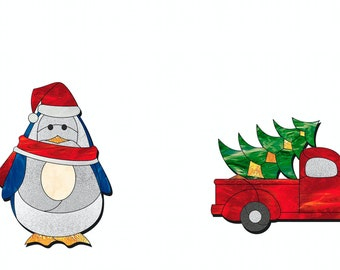 Stained glass Christmas ornament patterns to download, Stained glass Penguin pattern, Stained glass Christmas truck pattern