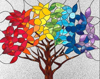 Stain glass pattern TREE, Rainbow stained glass pattern to download