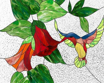 Stained glass panel pattern to download Hummingbird