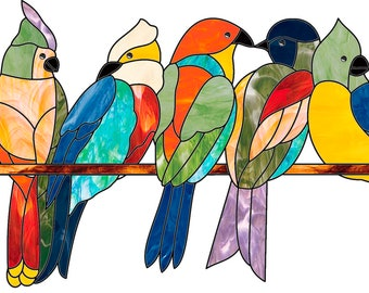 Stained glass pattern, Stained glass Birds, Suncatcher pattern Birds, Bird on a branch