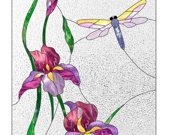 Stained glass pattern to download Dragonfly Panel Window Decor Stain glass suncatcher