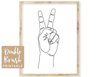 Peace Sign Art, Minimalist Peace Sign with Hand Printable Wall Art, One Line Drawing Peace Fingers Hand Gesture, Peace Sign Print MHW016