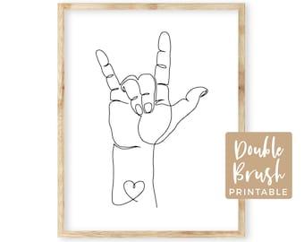 I Love You  ASL Sign Hand Language Minimalist Art Print, Continuous One Line Art Printable, Original Love Hand Sign Illustration MHW011