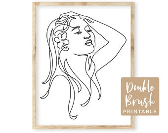 Line Art Face Woman Print, Beach Girl with Plumeria Flower in Long Hair, One Line Drawing Modern Minimalist Wall Art Printable, MWW022