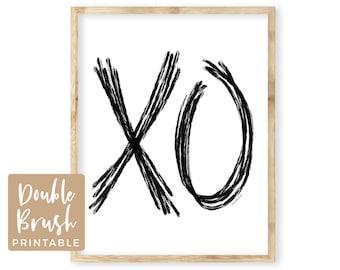 Rustic Love Signs XO Print, XOXO PRINTABLE Wall Art Modern Bedroom Wall Decor, Minimalist I Love You, Wicker Abstract Modern Wedding Cards