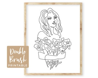Woman Line Print, Woman with Flowers Drawing Peony Floral Bouquet, Girl with Peonies Printable Wall Art, Minimalist Modern Wall Art,  MWW006