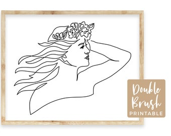 Woman Line Art Printable Wall Art, Woman with Flowers Prints, Modern Line Drawing Woman with Windswept Hair, Minimalist One Line Art MWW016