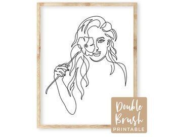 Line Art Woman with Flower Over Eye Art Print, Abstract Modern One Line Drawing Girl, Wall Art Printable Female Artwork Wall Decor  MWW001