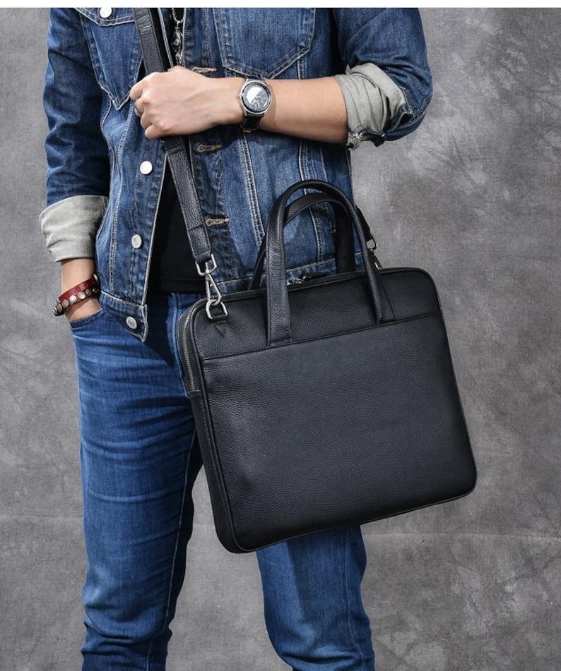 Leather Briefcase Men Messenger Bag Black Leather Bag Leather Messenger Leather Briefcase Leather Laptop Bag Shoulder Bag Gift for Him