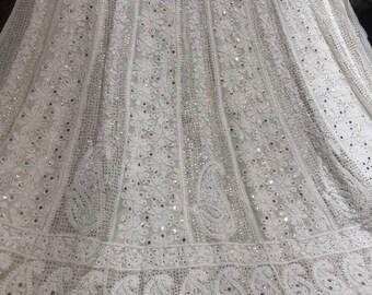 64092ae085 White georgette dyeable chikankari Lucknowi anarkali