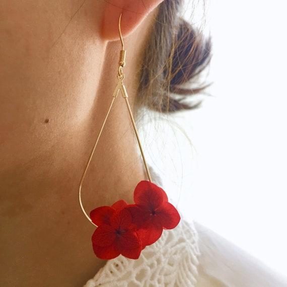 Boucles d'oreilles fleurs stabilisées –JULIETTE rouge