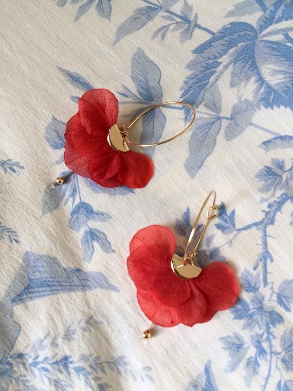 COLLECTION NOËL boucles d'oreilles fleurs stabilisées — LAURA rouge