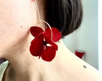 stabilized flower earrings -- RED AURÉLIE