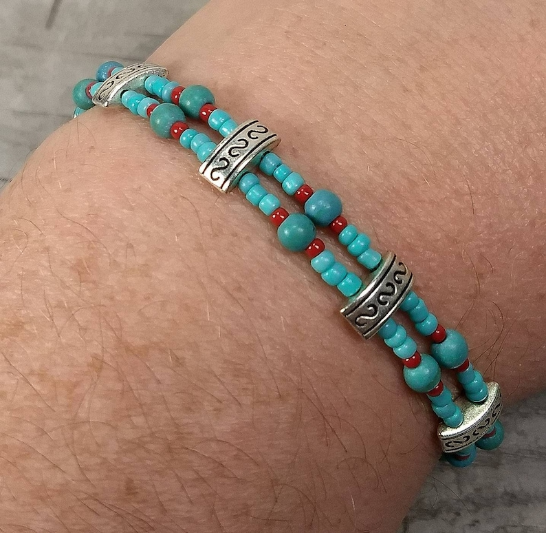 Tibetan BraceletTurquoise BraceletBeaded BraceletBoho BraceletGemstone BraceletDainty JewelryDouble Strand BraceletHandmade Jewelry.