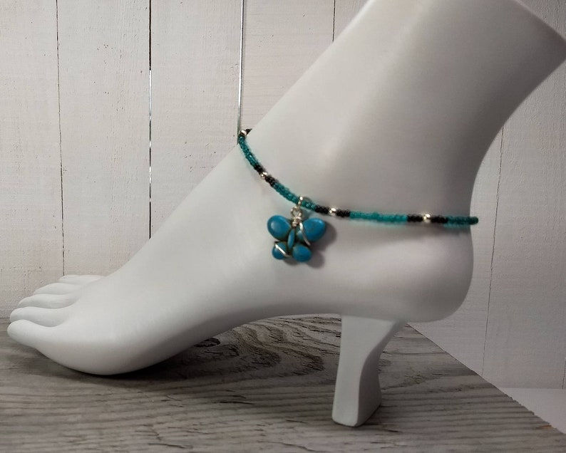 Summer Jewelry Body Jewelry Butterfly Anklet Beaded Anklet Spring Boho Anklet Beachwear Beach Jewelry Butterfly Gift Handmade Gift.