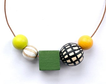 Colorful hand painted wooden bead statement necklace