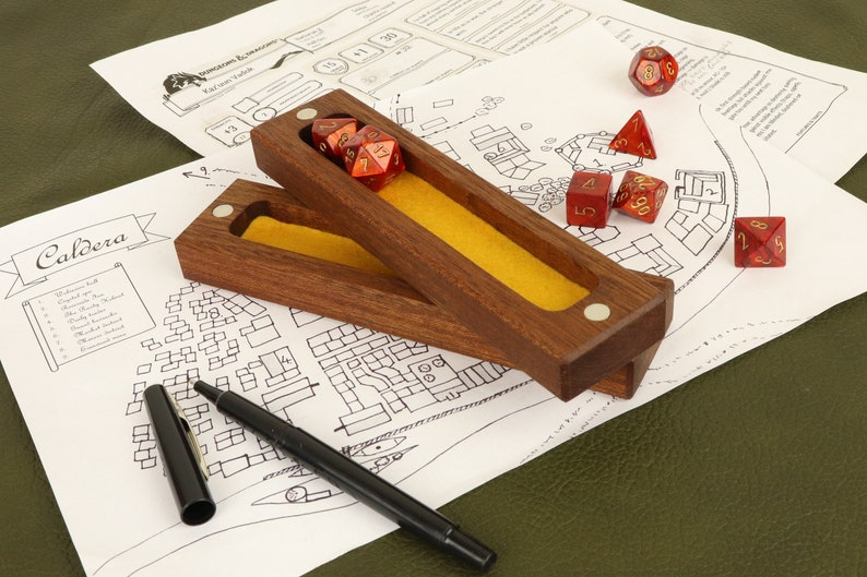 Wooden dice box sapele / dice case / dice vault for table top image 0