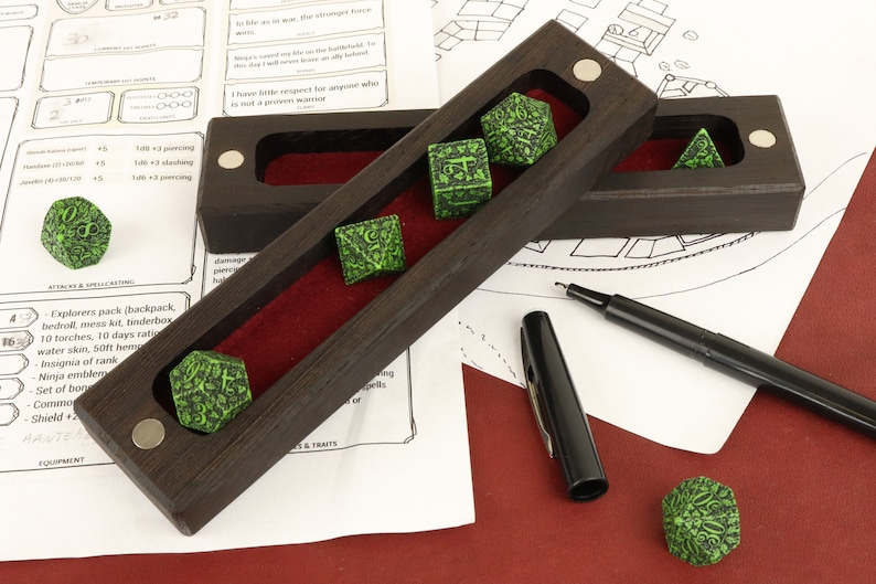 Wooden dice box wengé / dice case / dice vault for table top image 0