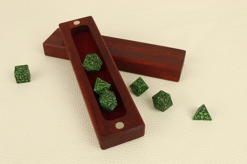 Wooden dice box padauk / dice case / dice vault for table top image 0