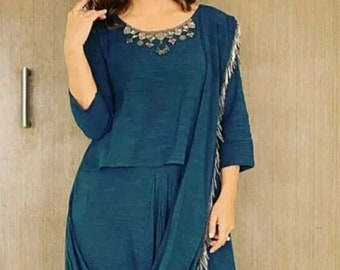 44843d22117 Hina Khan Indigo Blue Indo Western Dress