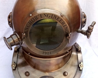 Maritime Dekoration Vintage Mini Diving Taucher Helm Us Navy Mark V Massivem Kupfer & Messing Helm