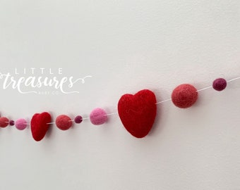 Girl Heart Decor - Heart Garland - Girl Nursery Garland - Girl Nursery Decor - Pink Garland - Felt Nursery Decor - Felt Wall Decor
