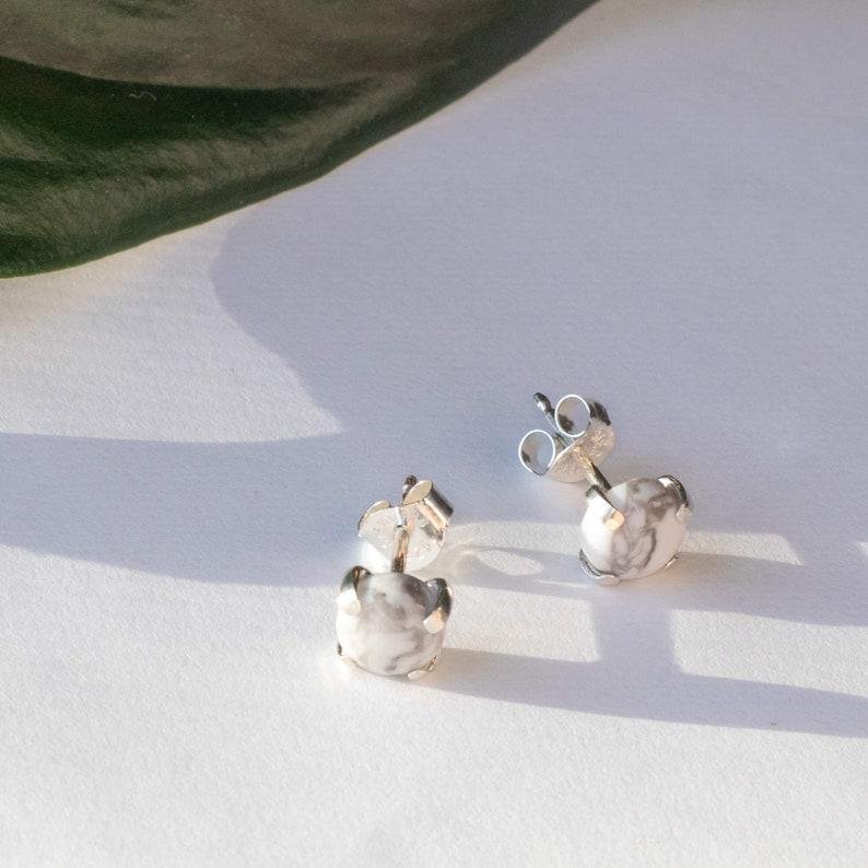 Howlite Studs by Charlie and Grey Nova Scotia Minimalist Silver Jewellery Handmade in Dartmouth
