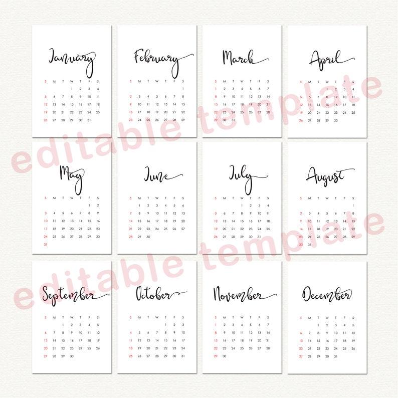2021 Monthly calendar printable editable calendar template ...
