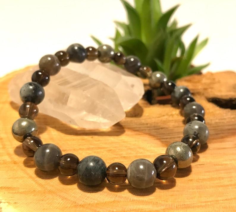 Yoga Labradorite Smoky Quartz Larvikite Pyrite Bracelet Healing Gemstone Bracelet Women Men Bracelet