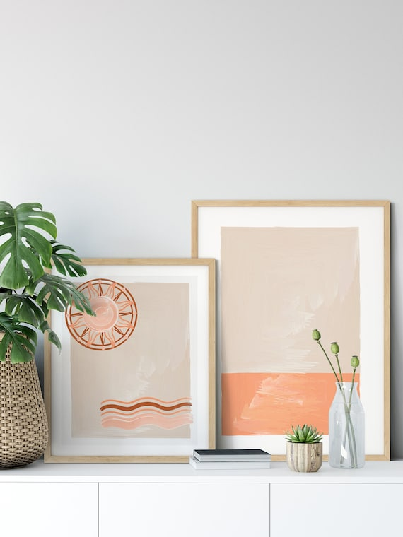 Boho Decor, Burnt Orange Decor, Living room Art Set, Gallery Wall Set,  Neutral Wall Decor, Modern Minimalist Decor, Abstract Decor, Wall Art