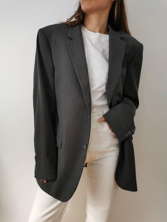 Calvin Klein blazer thin vintage grey stripes // S