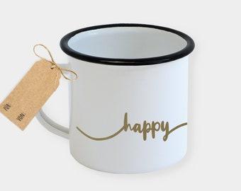 Tasse Emaille oder Keramik - gold - happy - Kaffee Tee Becher - Feine Geschenkidee Hochzeit Liebe Freundin JGA Braut - 45spaces