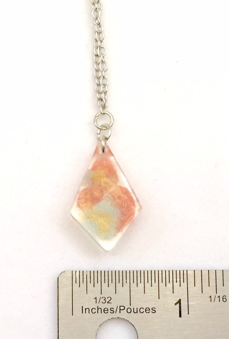 Light Blue Yellow and Coral Coloured Epoxy Resin Pendant /& Earrings Set