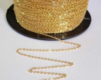 Gold Filled Chain - Gold Filled Chain Bulk - 14K Gold Chain Wholesale - Gold Fill Chain - Flat Cable Chain 1.3 mm - Gold Chain by the Foot