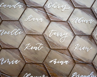 Painted Acrylic Hexagon Wedding Place Cards