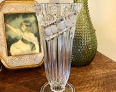 Anna Hutte Bleikristall Crystal Vase Lead Crystal 24 Percent Vintage 1990 39 s Art Deco Style Pedestal Bouquet Flower Frosted Dot Clear Germany
