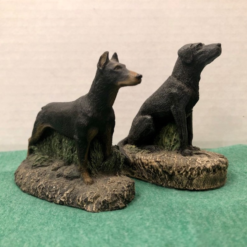 Dog Figurines - Black Labrador Doberman Pinscher - Kennel Collection by  Charles Earnhardt and M  Richardson 1970s Cold Bronze
