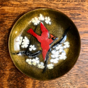 Enamel on Copper Pin Dish Chickadee by Helen Churchill Mid Century Bird Plate Signed Vintage Metal Artisan MCM Decor