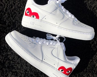 buy online 9fc64 af849 Custom Red Hearts Hand Painted Air Force 1