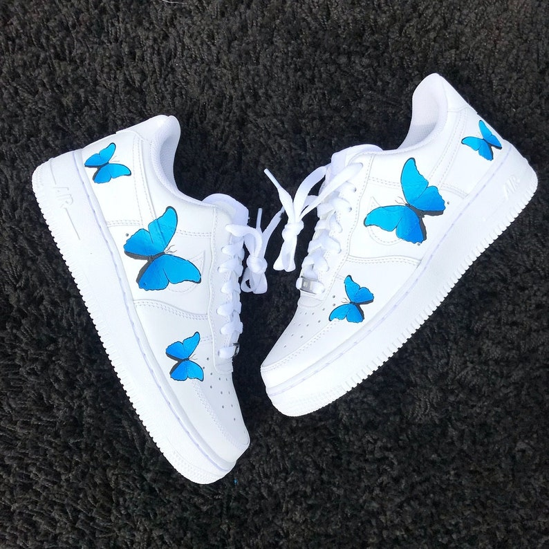 8f922e45c51a1 Custom Blue Butterflies Hand Painted Air Force 1