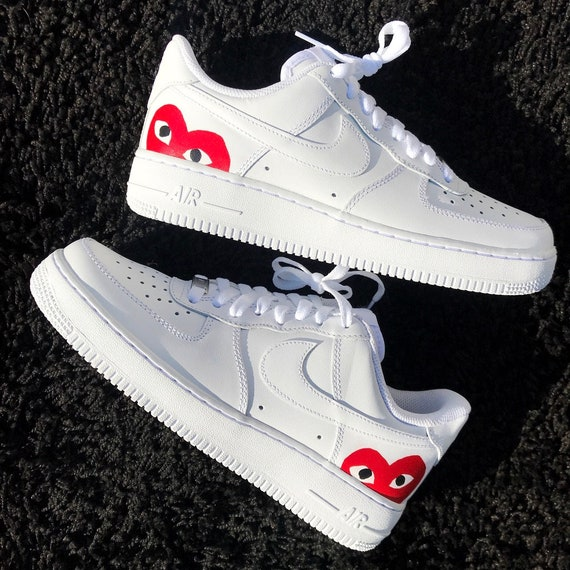 Custom Red Hearts Hand Painted Air Force 1 CDG