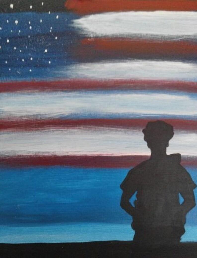 Acrylic 12x16 canvas oil painting. Police officer under an American flag sky