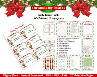 Printable Christmas Party Game Pack - Christmas Game Bundle, Christmas Games Pack, Holiday Games, Printable Games, INSTANT DOWNLOAD