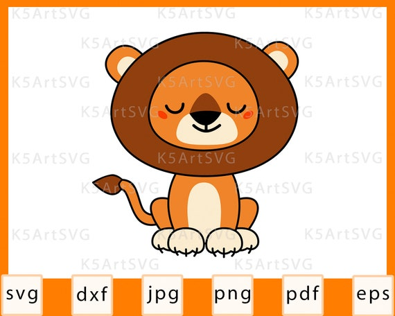 Cute Lion Svg Kawaii Baby Lion Cut File For Cricut Silhouette Etsy
