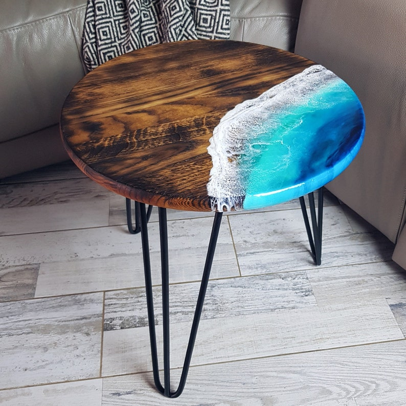 Round oak wood Side Coffee table with Epoxy resin art -hairpin legs, rustic, beach house decor, beach themed