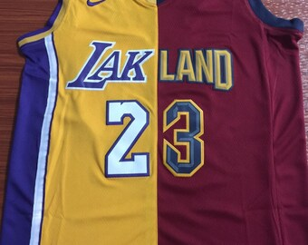 9cda9564fc2 Lakers + Cleveland Split Lebron James #23 Basketball NBA Game Performance  Jersey NWT Men's Fully Stitched