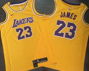 d30e40afb NWT LA Lakers Lebron James  23 Yellow Mens Youth Fully Stitched NBA Jersey    Basketball Team Uniform Customize   Full Sublimation Wholesale