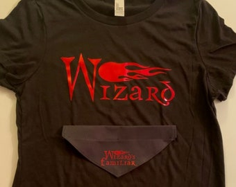 Matching Over the Collar Dog Bandana and T-Shirt, Wizard, Best Friend, Wizard's Familiar, Critical Role, Caleb Widowgast