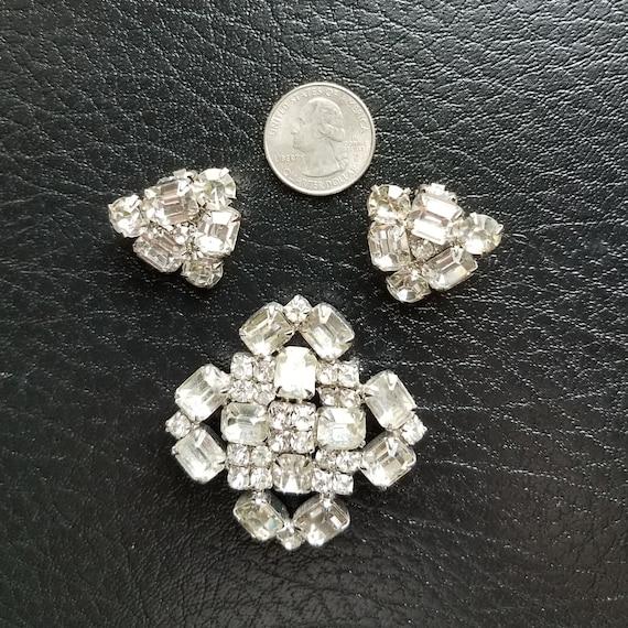 Rhinestone Brooch and Earring Set