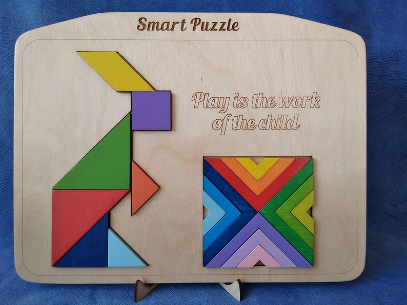 baby learning Baby play based learning Elementary School Tangram puzzle Montessori tangram Two puzzles in one toy Educational toy
